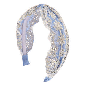 Denim Crochet Cinched Wide Headband,