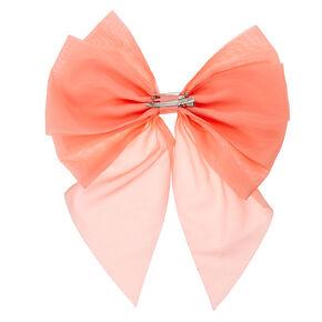Jumbo Coral Chiffon Bow Hair Clip,
