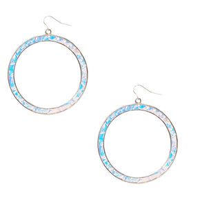Holographic Mermaid Large Circle Earrings,