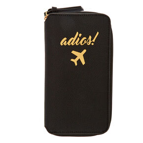 Black Faux Leather Adios! Travel Wallet,