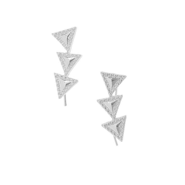 Silver-tone Triangle Trio Ear Crawlers,