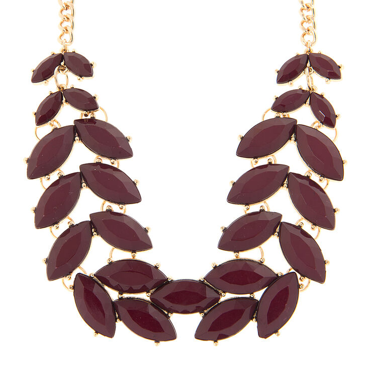 Kaley Wine Stone Leaves Statement Necklace,