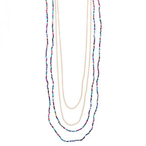 Multi-Strand Colored Bead and Gold-Tone Long Necklace,