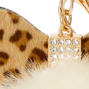 Ivory Leopard Bow Faux Fur Pom Key Ring,