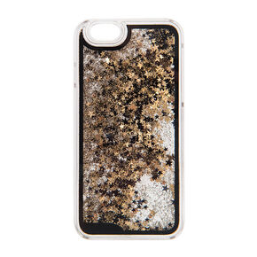 Black and Gold Floating Stars Liquid Fill Phone Case,