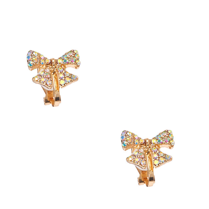 gold tone pave gift bow clip on stud earrings s ca