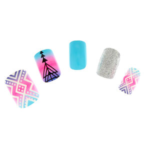 Blue, Pink and Purple Ombre Instant Nails,