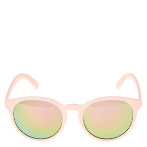 Blush Pink Cat Eye Mirrored Sunglasses,