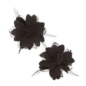 Black Lily and Feathers Hair Clips,