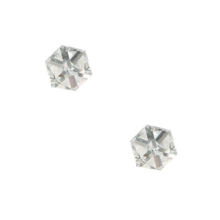 Clear Cubed Stud Earrings,