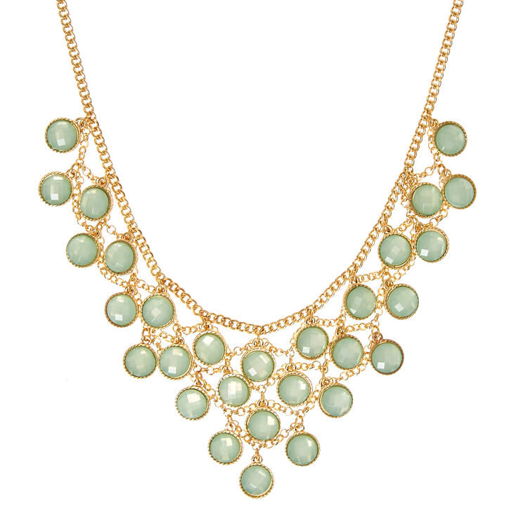 Gold-Tone Mint Gem Statement Necklace,