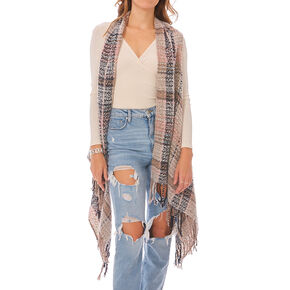 Blush and Gray Plaid Blanket Vest,