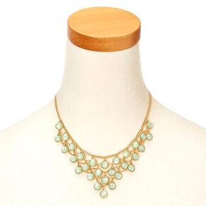 Gold-Tone Mint Gem Statement Necklace,