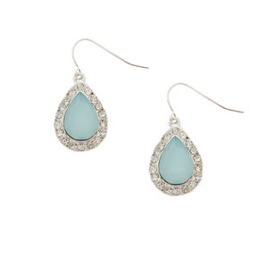 Rhinestone Framed Mint Opal Teardrop Drop Earrings,