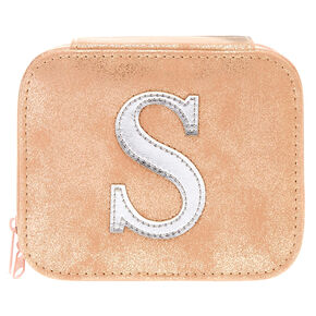 "Blush Pink ""S"" Initial Jewelry Case,"