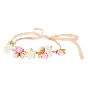 Pink and White Flower Clusters  Beige Faux Suede and Ribbon Headwrap,