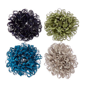 Green and Blue Looped Hair Scrunchies,