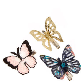 Delicate Gold, Pink, and Floral Butterfly Hair Clips,
