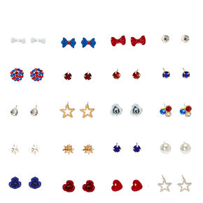 Red, White, and Blue Motif Stud Earrings,