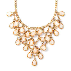 Glitter Stone Teardrop Layered Bib Necklace,