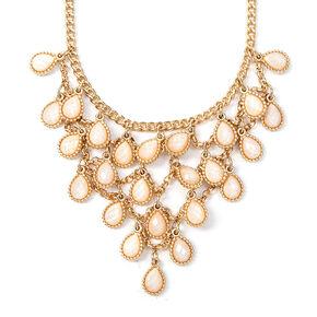 Glitter Stone Teardrop Layered Bib Necklace,