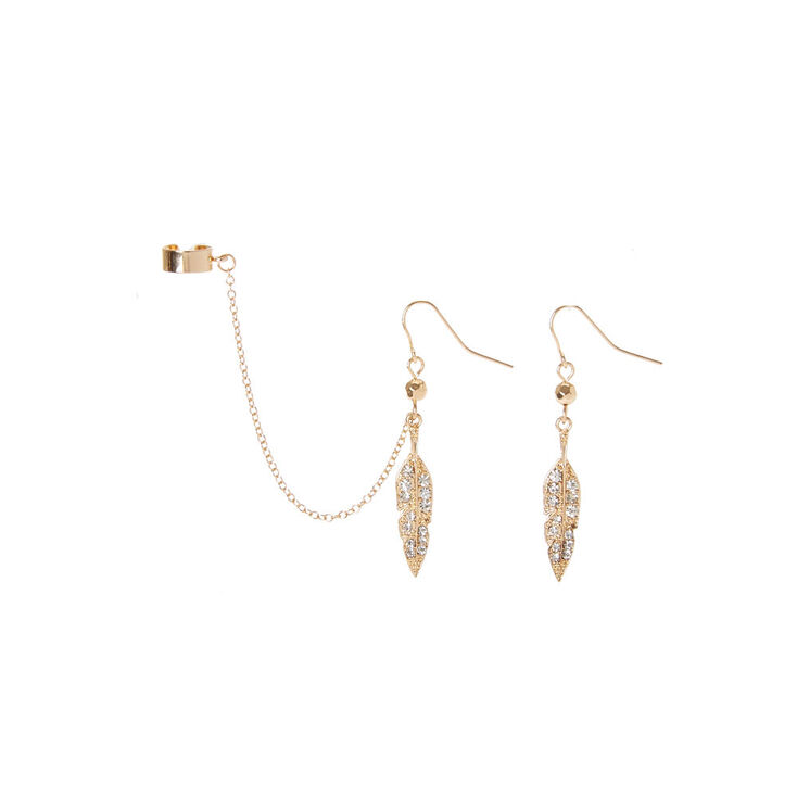 Gold Leaves Drop Earrings and Ear Cuff,