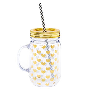 Gold Foil Heart Mason Jar Glass with Straw,