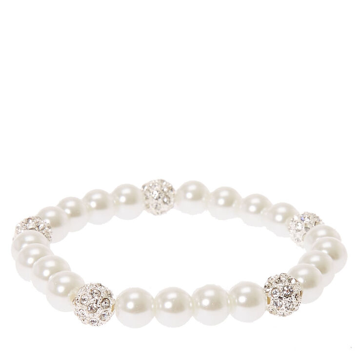 Faux White Pearl & Fireball Bracelet at Icing in Victor, NY | Tuggl