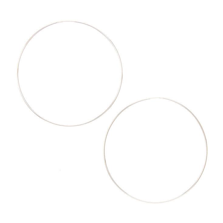 60mm Silver-tone Hoop Earrings,