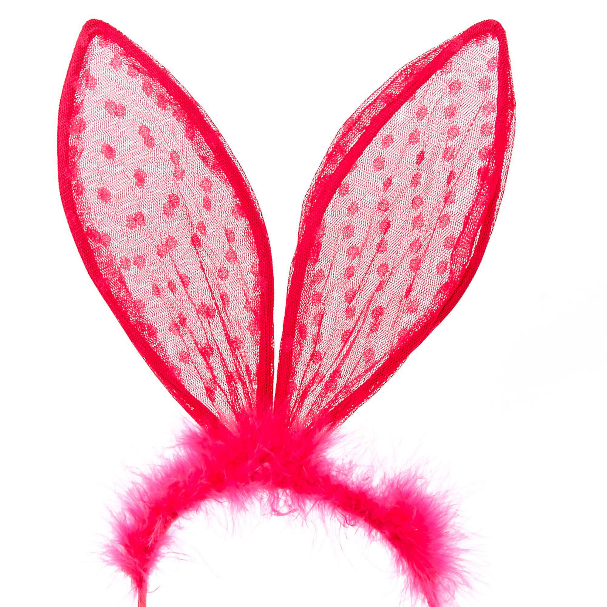 Pink Polka Dot Lace Bunny Ears Headband   Claire's