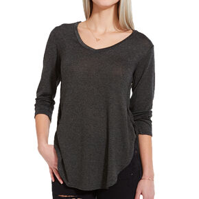 Olive V Neck High-Low Quarter Sleeve Shirt,