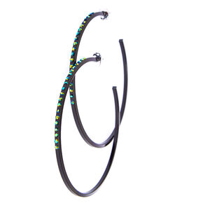 Black and Holographic Crystal Lined Hoop Earrings,
