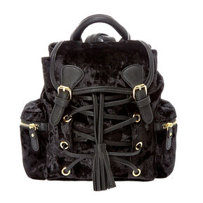 Black Crushed Velvet Mini Backpack,