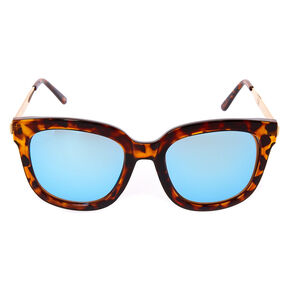 Tortoise Shell Mirrored Square Sunglasses,