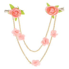 Pink Flower and Gold Chains Hair Swag Clips,