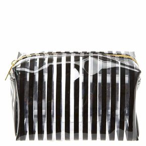 Translucent Black Striped Cosmetic Bag,