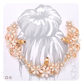 Frosted Crystal Flower Rose Gold-Ttone Hair Swag,