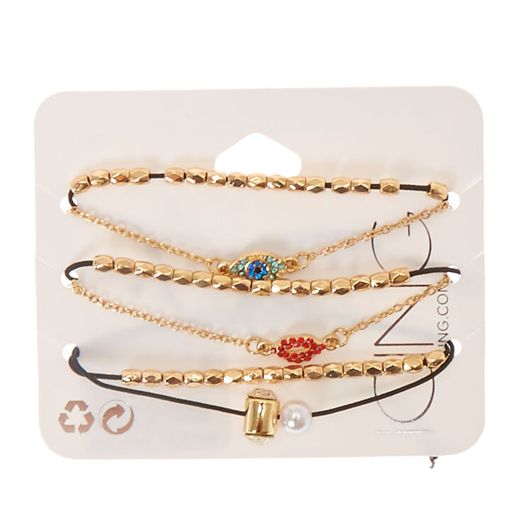 Evil Eye, Lips and Faux Pearl Charm Bracelet Set,