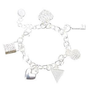 Silver Glitter Charm Bracelet,