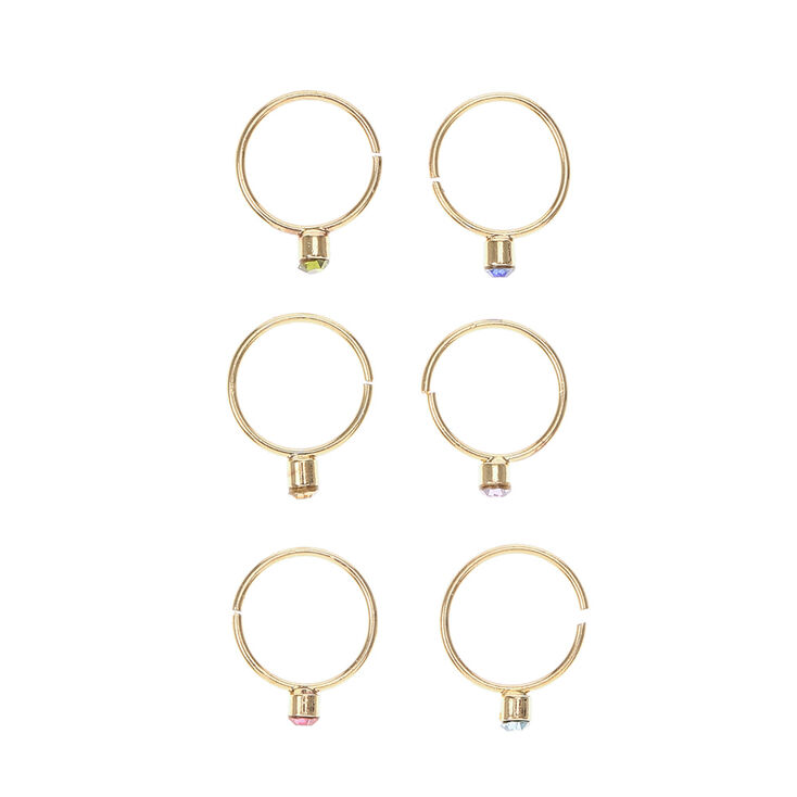 Gold and Colored Gem Nose Hoop Ring Set,