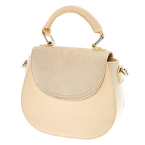 Faux Leather & Suede Nude Crossbody Bag,