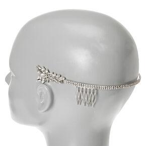 Silver-tone Faux Crystal Leaves Side Tiara,