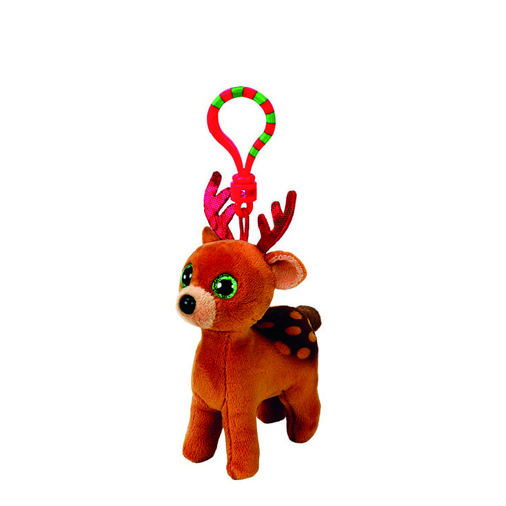 TY Beanie Baby Tinsel the Reindeer Keyring Clip,