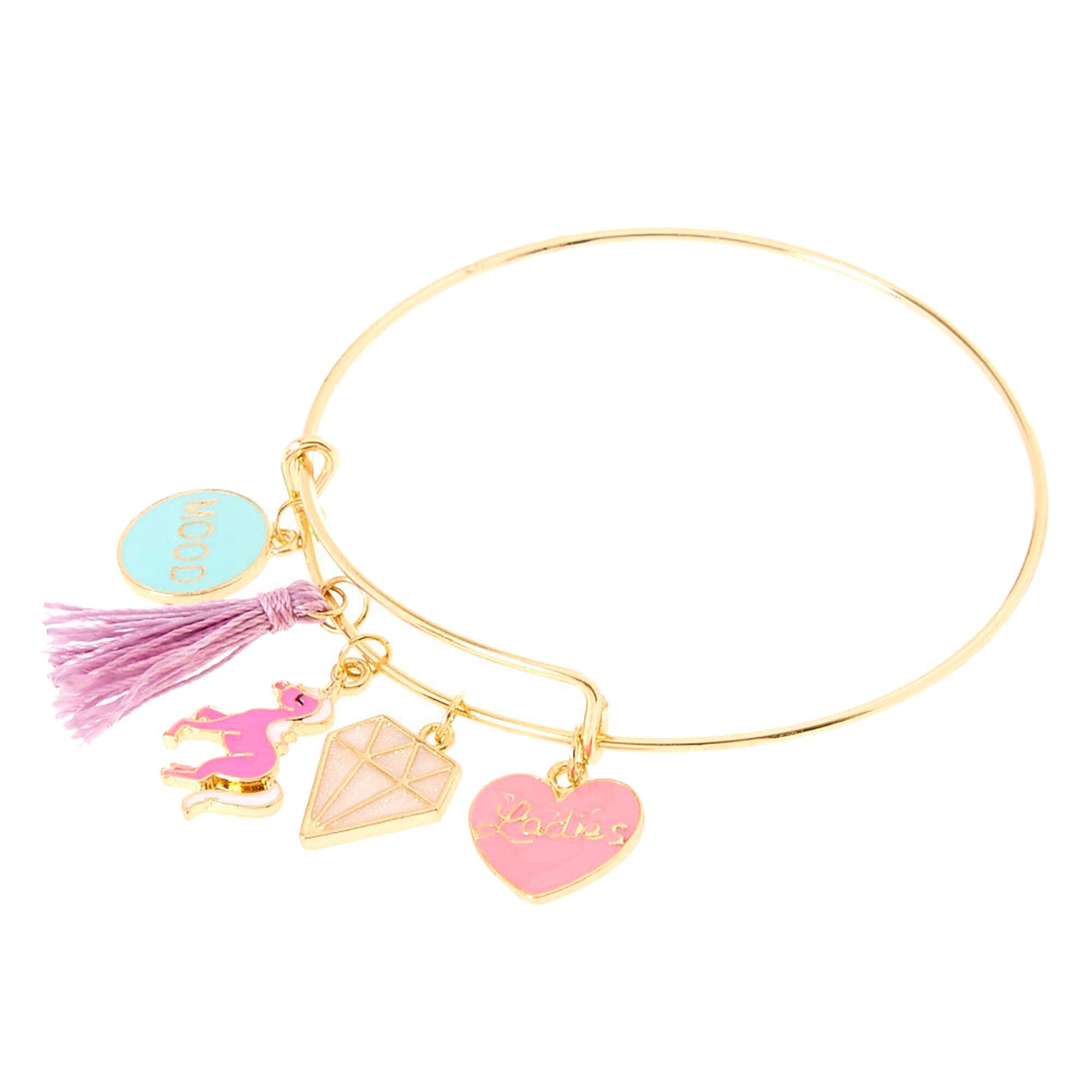 goldtone unicorn charm bangle bracelet claires ca