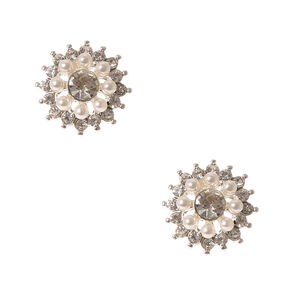 Pearl and Crystal Flower Stud Earrings,