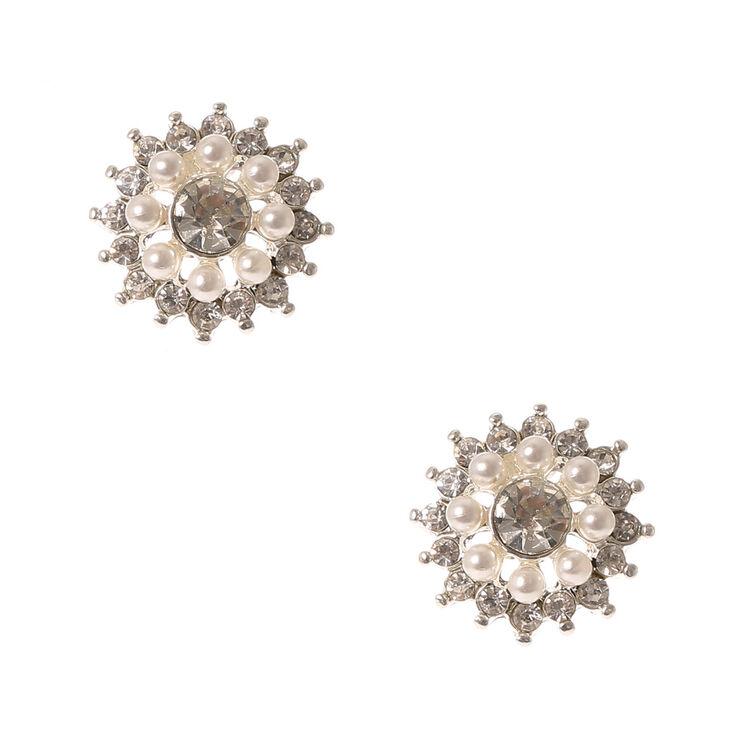 Pearl and Crystal Flower Stud Earrings,