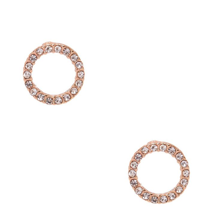 Rose Gold-tone Faux Crystal Lined Open Circle Stud Earrings,