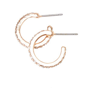 Rose Gold-tone Rhinestone Studded Mini Hoop Earrings,