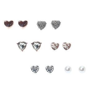 Rose-Gold Tone Heart Motif Stud Earrings,