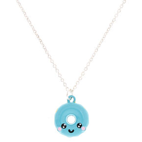 Blue Donut Pendant Necklace,